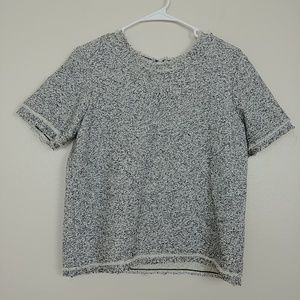 Ann Taylor Crew Sweater SS Raw Edge Marled #3190